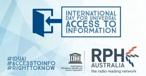 International Day for Universal Access to Information - Image with UNESCO & RPH Australia logos + hashtags #IDUAI #ACCESSTOINFO #RIGHTTOKNOW