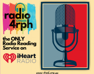 Image shows Radio 4RPH logo and microphone with text 'the only Radio Reading service on iHeart Radio