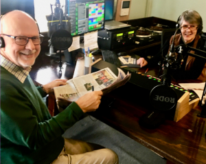 Radio readers, Ron Coveney and Roz Lawson, read Newspapers on Air
